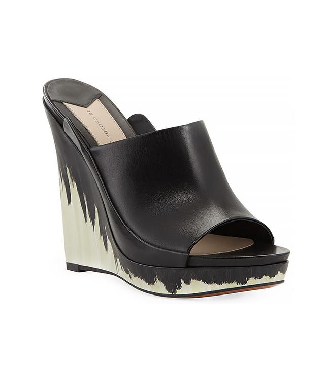 10 Crosby Derek Lam Glinda Hand-Painted Leather Wedge Mules