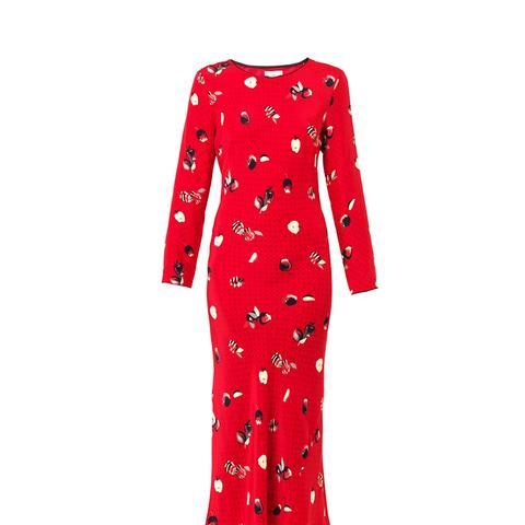 Andrea Apple-Print Silk Dress