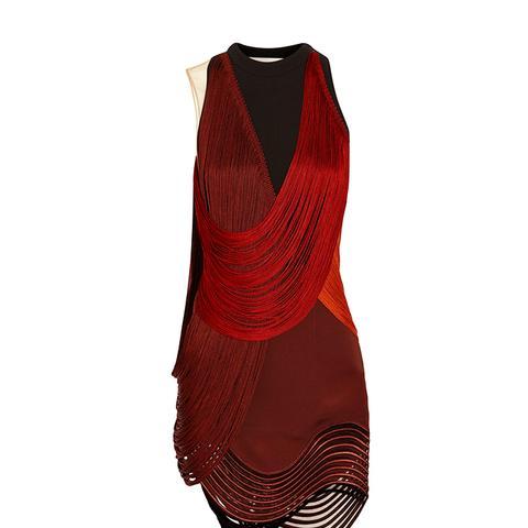 Fringed Stretch-Cady Mini Dress