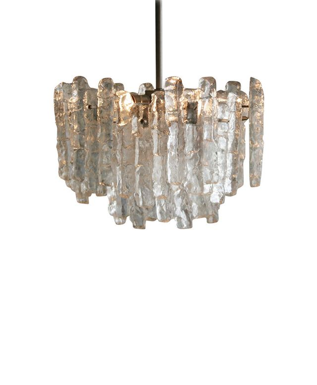 1st Dibs An Austrian Textured Ice Glass Pendant Chandelier