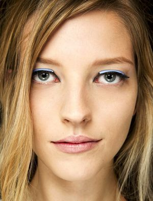 Blue Leather Eyeliner At Fendi S/S 2015