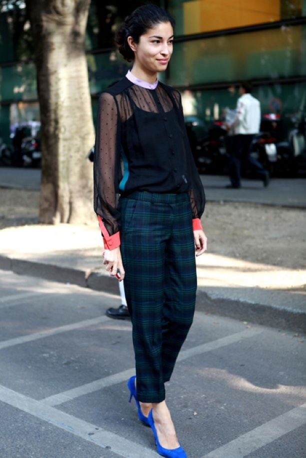 Milan Fashion Week Street Style: Plaid Pant