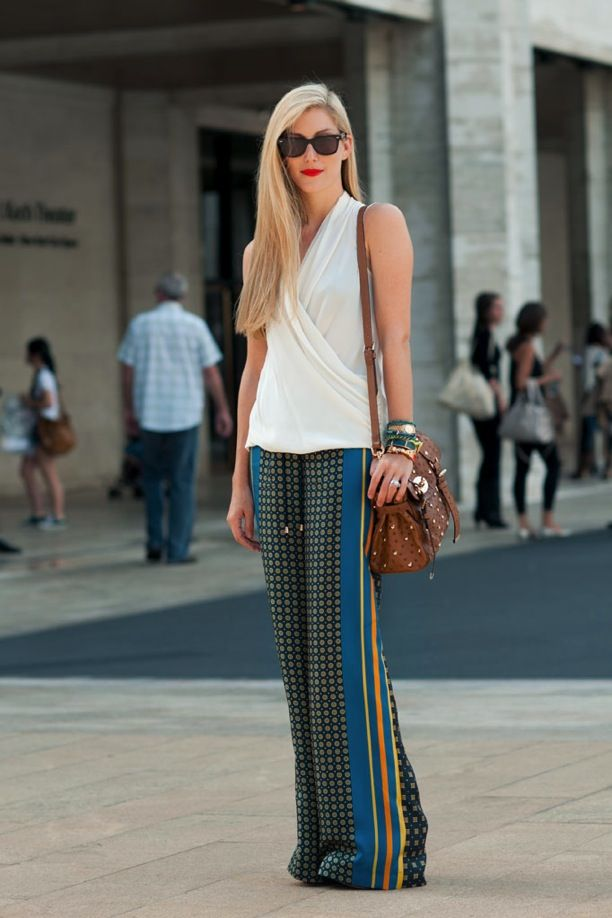 NYFW Street Style: Printed Wide-Leg