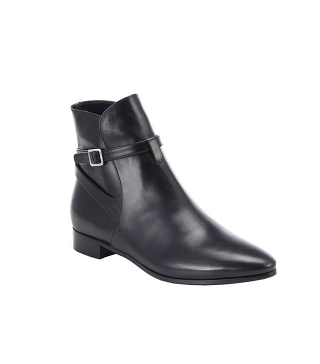 Prada Leather Buckle Moto Ankle Boots