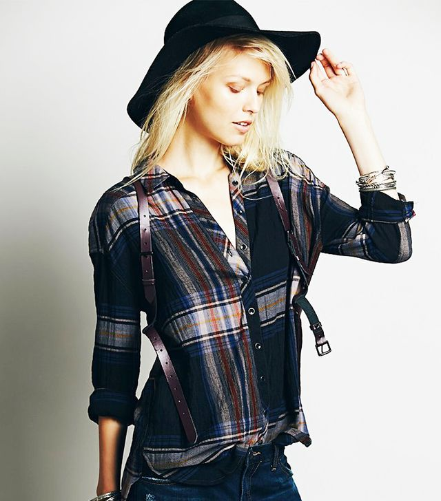Free People Plaid Explosion Button Down