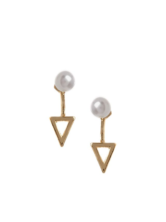 ASOS Faux Pearl Triangle Swing Earrings