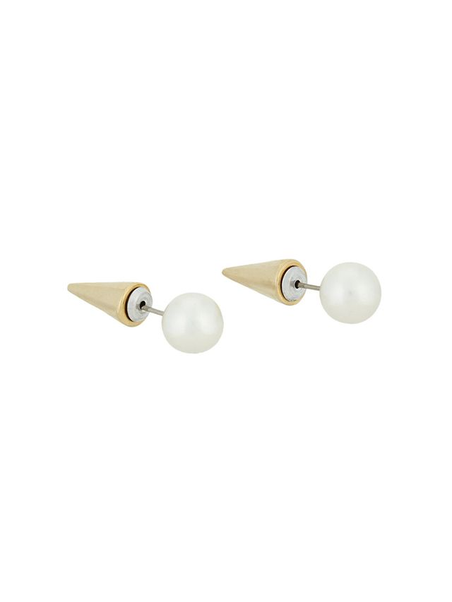 Fallon Pearl Bead & Spike Stud Earrings