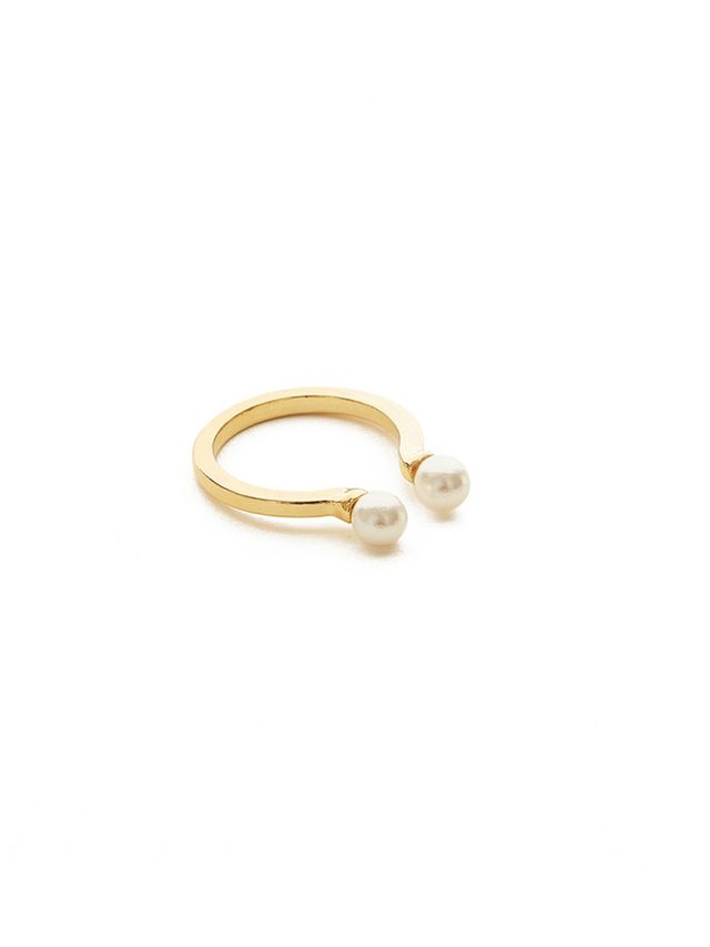 Jeweliq Open Double Pear Ring