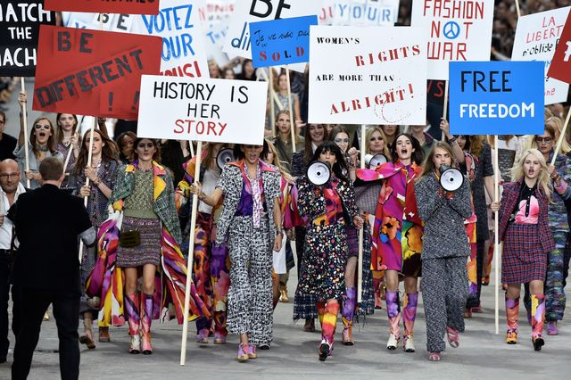 Chanel Stages Full-On Feminist March During S/S 15 Runway Show