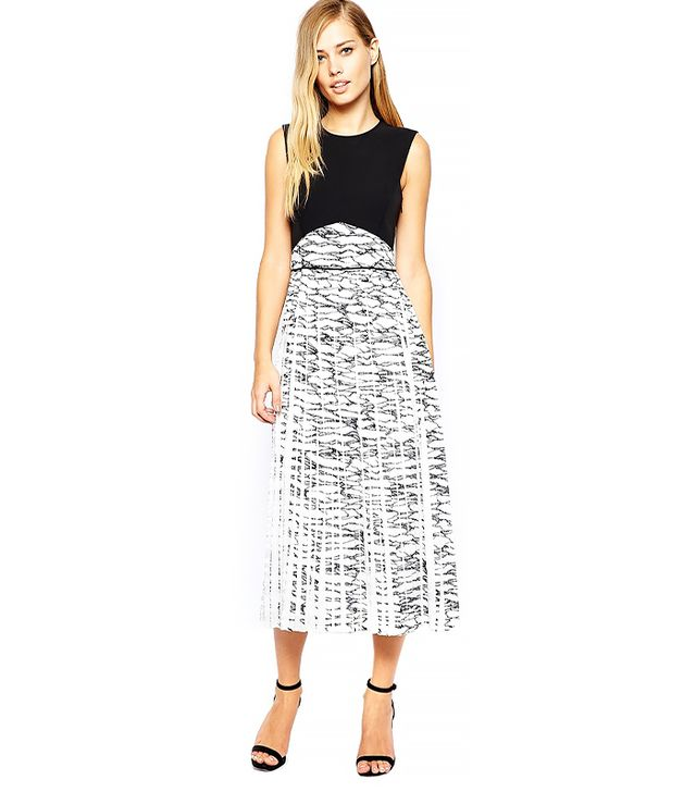 Whistles Pleated Midi Dress In Marble Print
