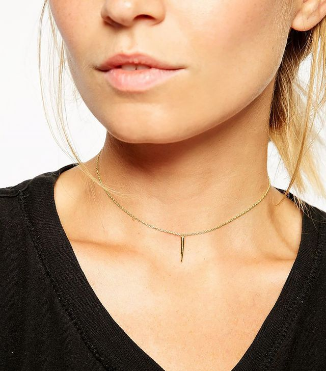 ASOS Gold Plated Sterling Silver Spike Choker Necklace