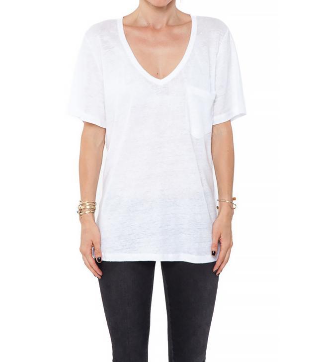 Anine Bing V-Neck Linen T-Shirt