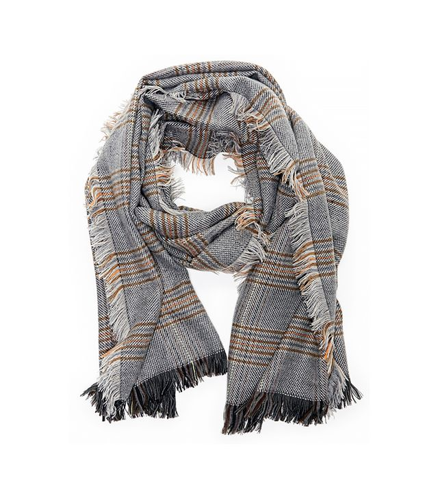 Sole Society Fringe Check Scarf