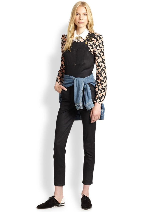 Frame Le Skinny Coated Denim Overalls