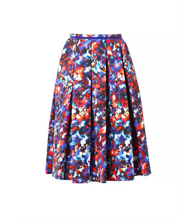 Saloni Bettina Cosmic Pansy-Print Midi Skirt