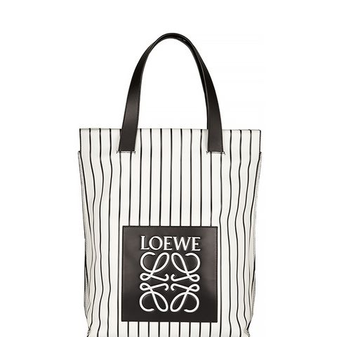 Striped Leather Shopper