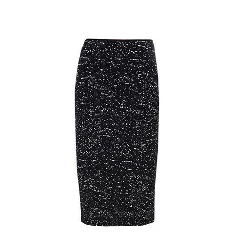 Splatter Print High Waisted Knit Skirt