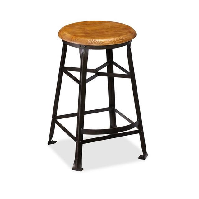 Pottery Barn Decker Wood Seat Bar Stool