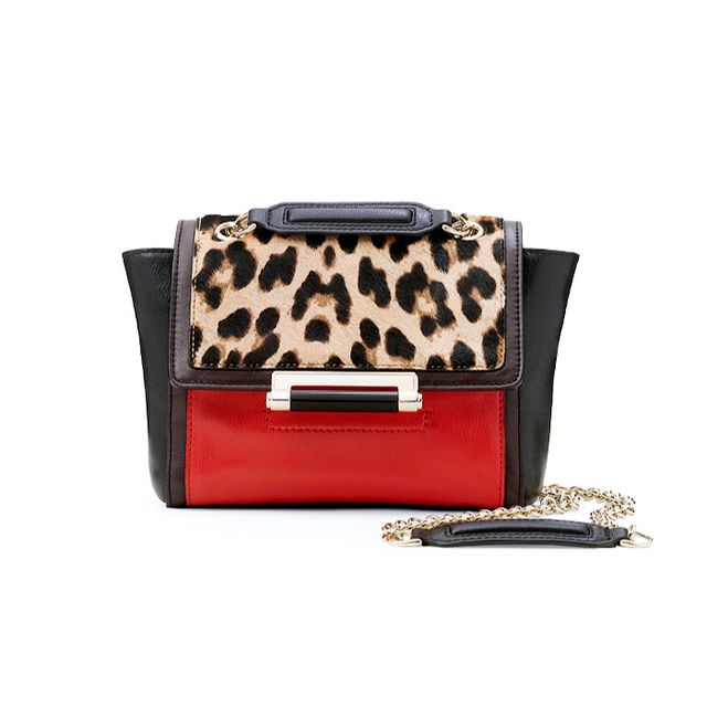 Diane von Furstenberg 440 Mini Lopard Haircalf Crossbody Bag