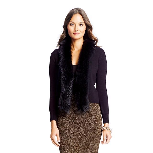 Diane von Furstenberg Fur Trim Wool Cardigan