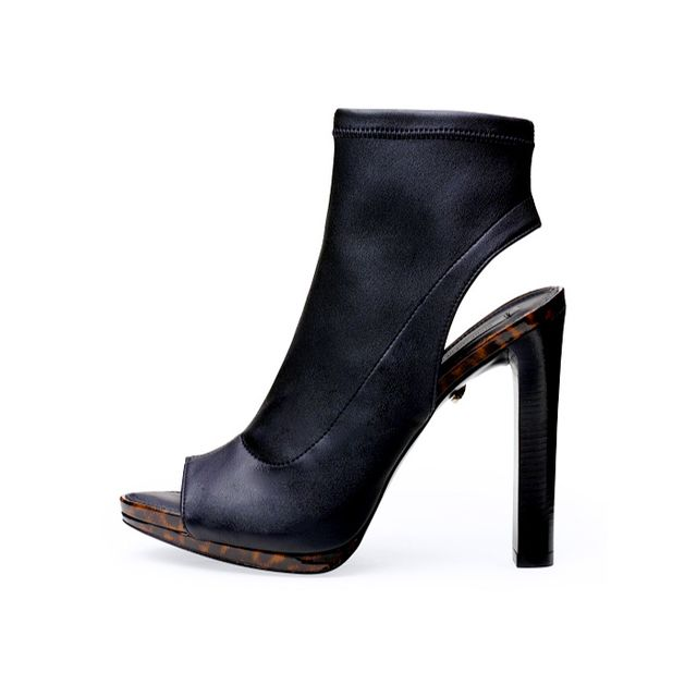 Diane von Furstenberg Amara Stretch Leather Open Toe Bootie