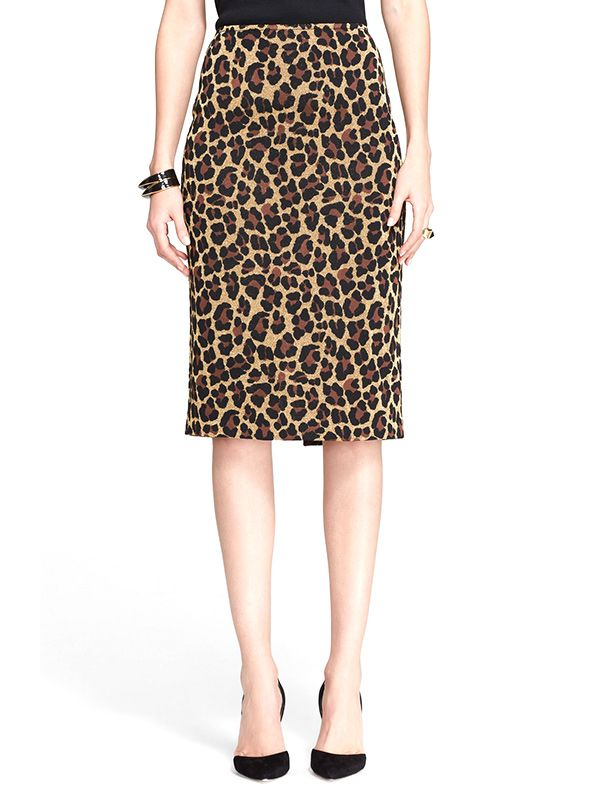 St. John Collection Leopard Jacquard Knit Skirt