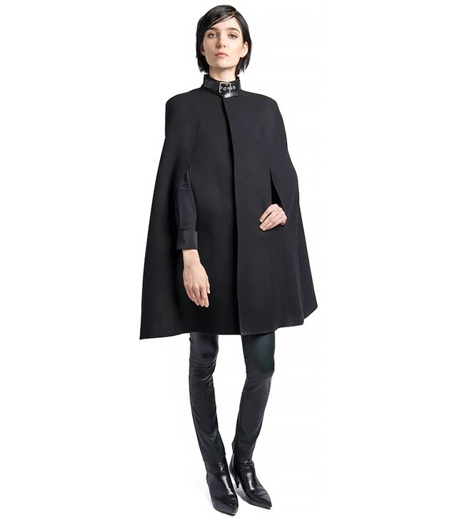 Saint Laurent Leather Collar Wool Blend Cape