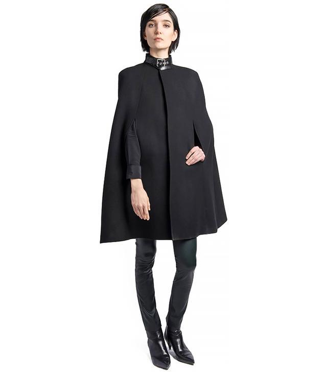 Saint Laurent Leather Collar Wool Blend Cape