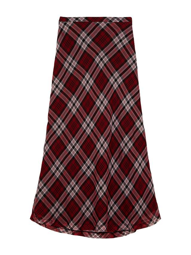MICHAEL Michael Kors Plaid Silk-Voile Maxi Skirt