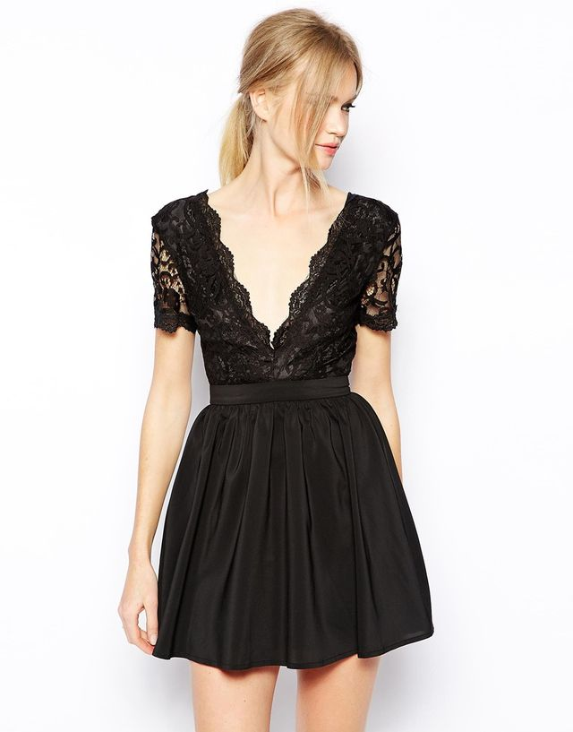Club L Skater Dress with with Scalloped Lace