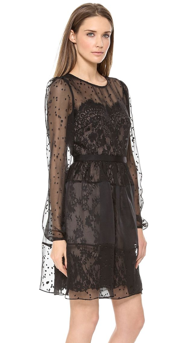 Notte by Marchesa Long Sleeve Cocktail Dress