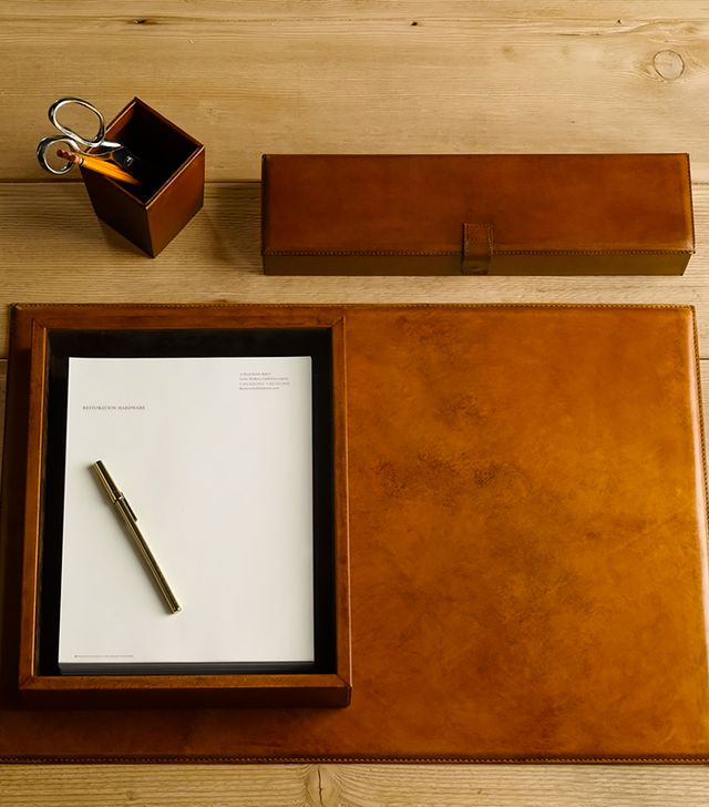 Restoration Hardware Artisan Leather Desk Mat Chestnut