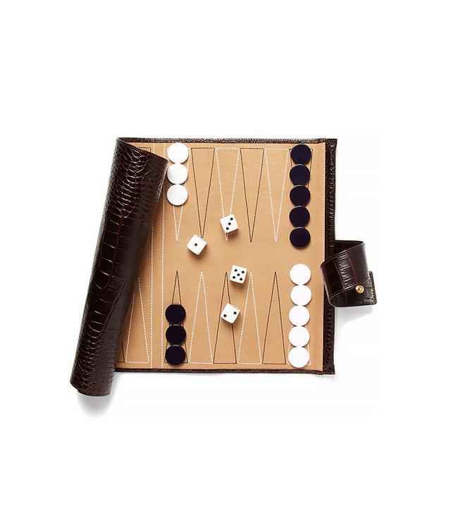 Smythson Mara Collection Crocodile-Embossed Leather Backgammon Travel Set