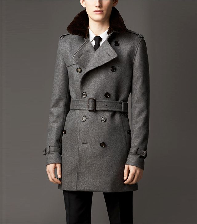 Burberry Mid-Length Fur Collar Cashmere Trench Coat
