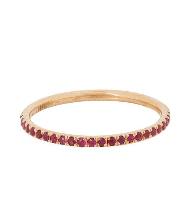 Ileana Makri Ruby & Pink Gold Thread Band