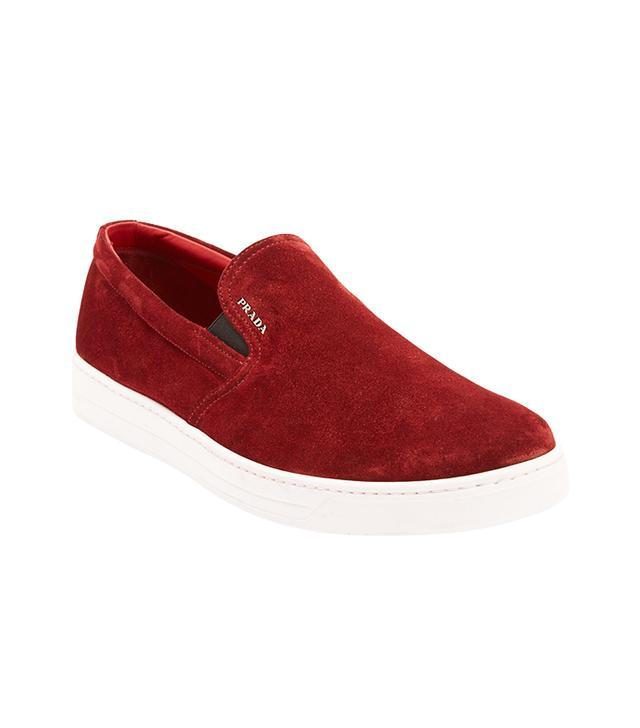 Prada Linea Rossa Suede Slip-On Sneakers