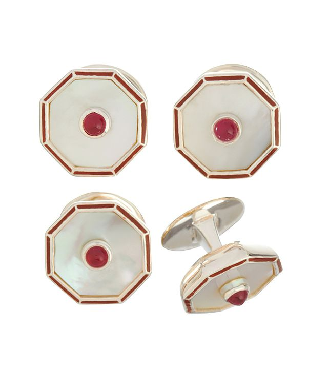 Deakin & Francis Mother of Pearl & Ruby Red Stud Set