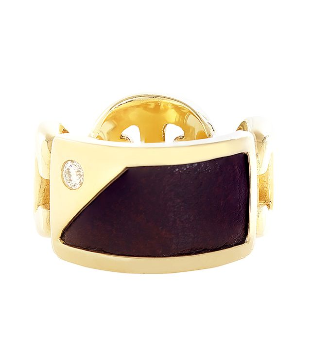 Hoorsenbuhs Diamond & Leather-Inlay Gold Rin