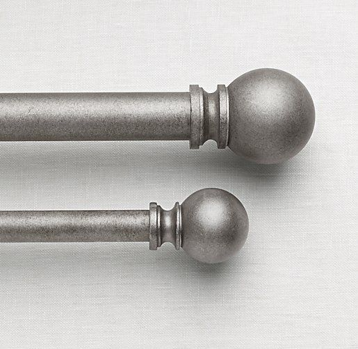 Restoration Hardware Baby and Child Classic Pewter Ball Finials and Rod