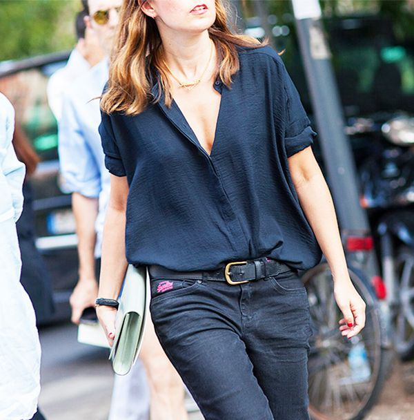 Outfit Combo: Jeans + Deep-V Blouse