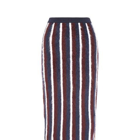 Striped Brushed Wool-Blend Midi Skirt