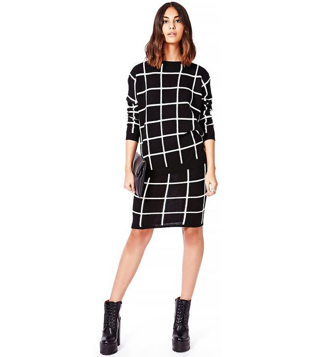 Missguided Ayisha Grid Brushed Knit Jumper Monochrome