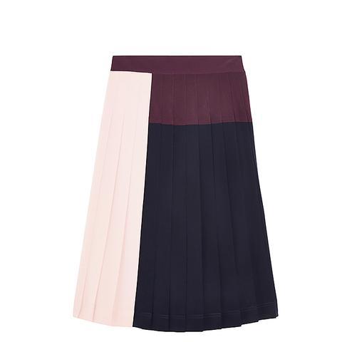 Color-Block Pleated Crepe De Chine Skirt
