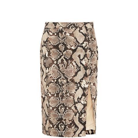 Python-Print Stretch-Cotton Twill Pencil Skirt