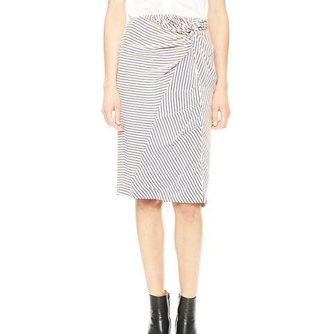 Striped Silk Knot Skirt