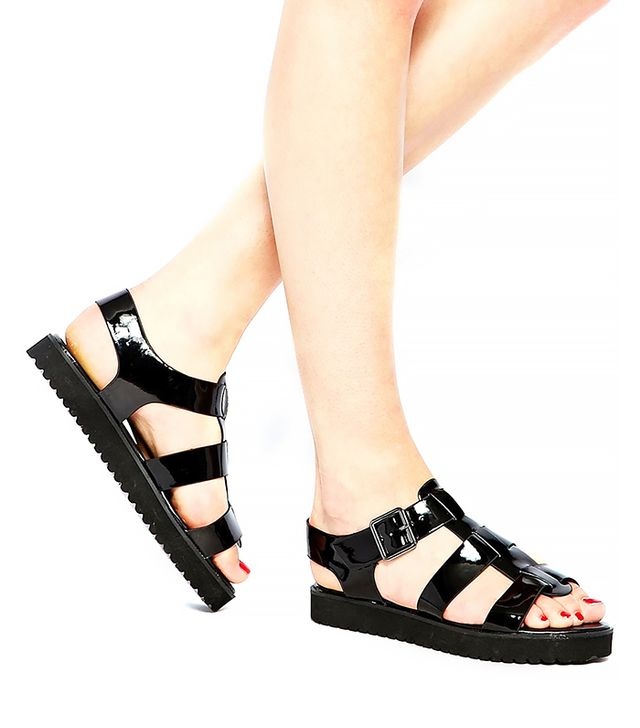 New Look Wide Fit Flax Black Buckle Flat Sandals