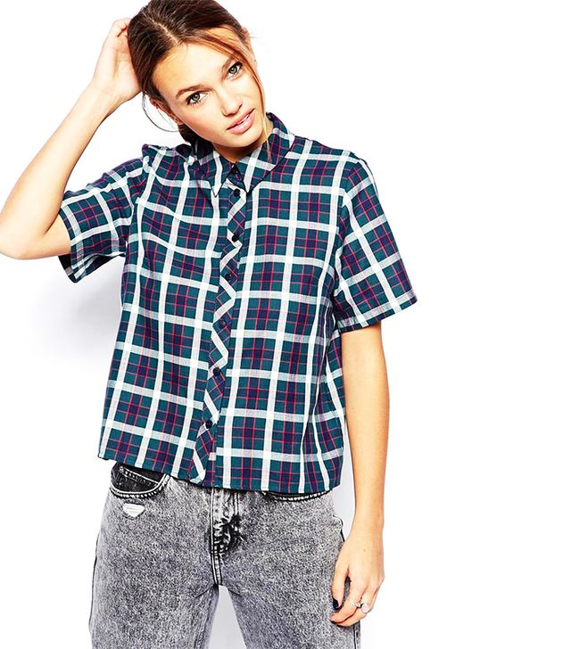 ASOS Check Boxy Sleeved Shirt