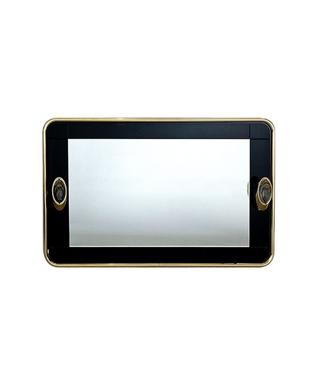 1st Dibs Brass and Black Glass Illuminated Mirror