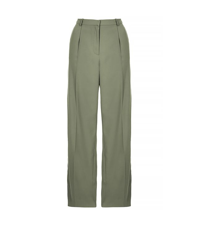 Topshop Slouchy Satin Stripe Trousers