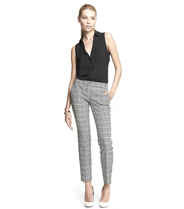 Express Graphic Plaid Ankle Pants